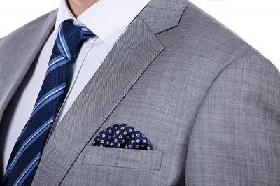 Gris elegante dise_o pico solapa trajes de los hombres | Traje de boda de dos bolsillos a medida_5