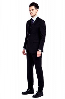 Black Single Breasted 3 Piece Business Suit for Men | High-end Peak Lapel Customized Tuxedos for my Quince_4