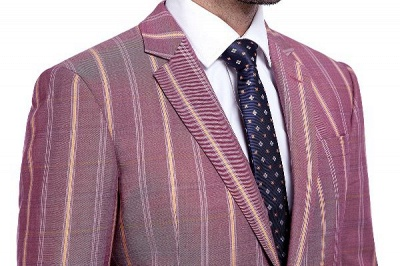 Dark Pink Checks Single Breasted Peaked Lapel Tuxedos | New Suit Formal Suit for Handsome Men_5