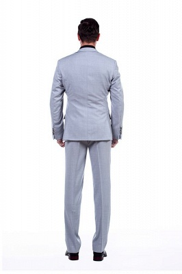 Solid Single Breasted Notched Lapel Formal Suit for Men | light Grey Custom Made Quinceanera Tuxedos_4