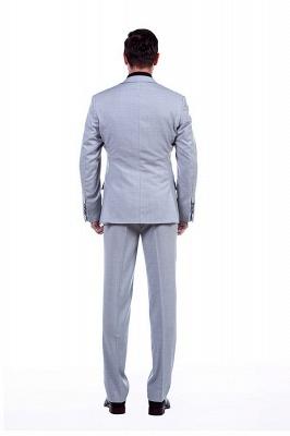 Traje Formal de Sola solapa con entallado de punto cruzado | Esmoquin de boda por encargo gris claro_4
