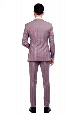 New Tailor Made Light Pink Plaid Chambelanes Tuxedos | 3 Pockets Single Breasted Slim Bespoke Suits_3
