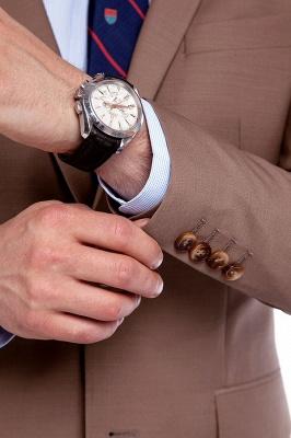 Traje de negocios a medida con solapa de pecho cruzado marrón claro | Traje de hombre de moda 2019 de alta calidad con 3 bolsillos_6
