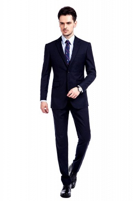 Fashion Navy Blue Herringbone Custom Made Business Chambelanes Tuxedos | Single Breasted 3 Pocket Tailored Suit For Men_1