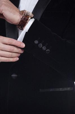 Cuello de terciopelo negro traje premium personalizado para hombre | El último traje de boda del novio del botón del dise_o uno_7