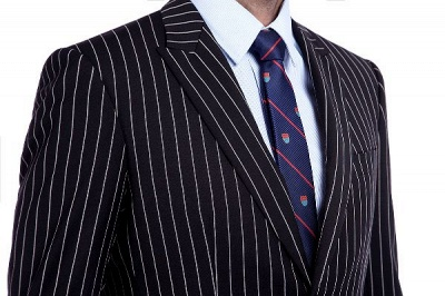 Tailor Hand Made White Stripes Business Suit for Men | Latest Design Peak Lapel Single Breasted Slim Fit Suit_5