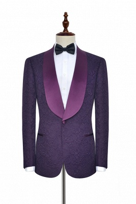 Hot Recommed Deep Purple Jacquard One Button Customized Tuxedos for my Quince  | Modern Shawl Collar Single Breasted Quinceanera Tuxedos_2