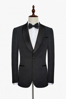 Pure Black Jacquard Shawl Collar One Button Customized Tuxedos for my Quince  | New Arrival 3 Pockets Single Breasted Slim Fit Chambelanes Suit_3
