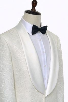 Traje de boda a medida de Jacquard blanco puro para el novio | Nuevo traje formal de un botón con botonadura simple para hombres guapos_4