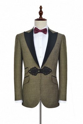 New Arrival Aureate Small Grid Wool Custom Quinceanera Tuxedos | Chinese Knot Peak lapel 3 Pocket Chambelanes Tuxedos_3