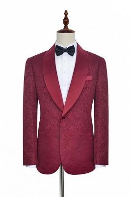 Con 3 bolsillos de cuello chal traje de boda personalizado | Un solo botonadura Un botón personalizado Jacquard de color rojo oscuro_1