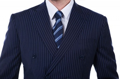 Fashion Double Breasted Navy Blue Made to Measure Suit | Modern Stripe Peak Lapel Chambelanes Tuxedos For Men_4