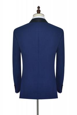 Con cuello chal de lana azul oscuro para el novio Traje de boda | Nuevo traje individual de pecho hecho a medida para hombre_5