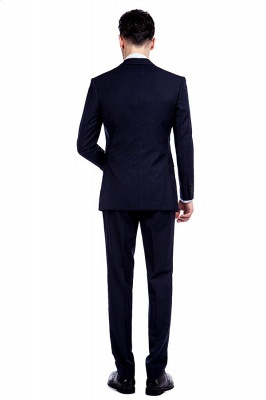 Fashion Navy Blue Herringbone Custom Made Business Chambelanes Tuxedos | Single Breasted 3 Pocket Tailored Suit For Men_4