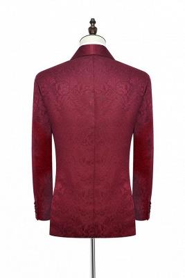 Con 3 bolsillos de cuello chal traje de boda personalizado | Un solo botonadura Un botón personalizado Jacquard de color rojo oscuro_4