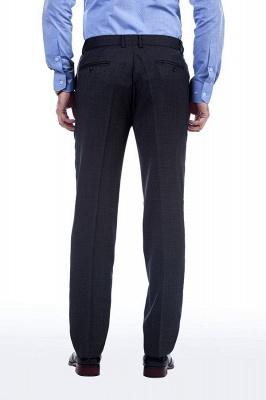 Gris oscuro 2 bolsillos trajes a medida delgados Traje casual de solapa | con muescas Personalizar esmoquin de boda_8