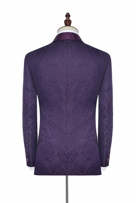 Hot Recommed Deep Purple Jacquard One Button Customized Tuxedos for my Quince  | Modern Shawl Collar Single Breasted Quinceanera Tuxedos_5