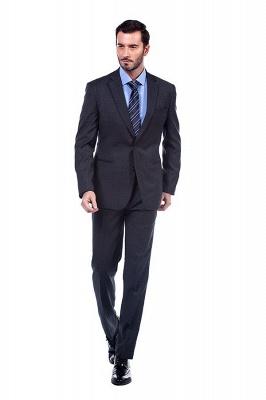 Gris oscuro 2 bolsillos trajes a medida delgados Traje casual de solapa | con muescas Personalizar esmoquin de boda_1