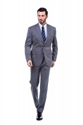 Nuevo dise_o de dos botones de un solo pecho traje personalizado | Alta calidad 2 piezas gris pico solapa novio_3