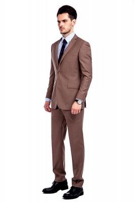Traje de negocios a medida con solapa de pecho cruzado marrón claro | Traje de hombre de moda 2019 de alta calidad con 3 bolsillos_2