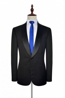 Recién negro traje de chaquetas de jacquard con cuadrados peque_o traje a medida | Traje de Boda _nico con Botones Un Solo Pecho para Novio_2