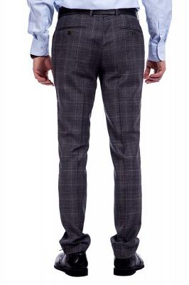 Traje a cuadros de primera calidad a medida en gris para hombres | Pocket solo traje de boda de pecho_9