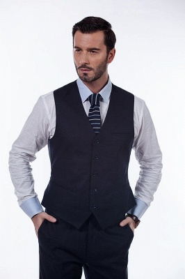 Dark Navy Peak Lapel Single Breasted Chambelanes Tuxedos | Premium Wool Three-Pieces Back Vent Customize suits_5