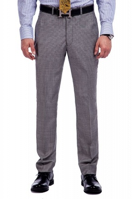 Grey Houndstooth 3 pockets Wool Suits for Men | Customize Peaked Lapel Single Breasted Chambelanes Tuxedos Tuxedos_7
