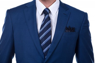 High Quality Blue Peak Lapel Made To Measure Suit | Slim Fit Single Breasted Back Vent Chambelanes Tuxedos_4