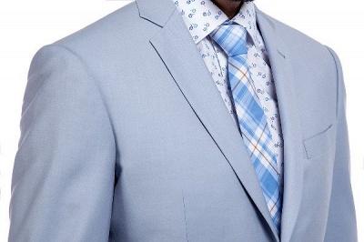 la solapa enarbolada por encargo Traje a medida azul claro | Tres bolsillos trajes de novio de boda de pecho único_5