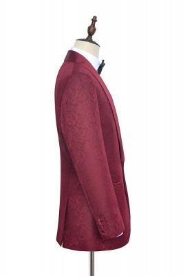 Con 3 bolsillos de cuello chal traje de boda personalizado | Un solo botonadura Un botón personalizado Jacquard de color rojo oscuro_3