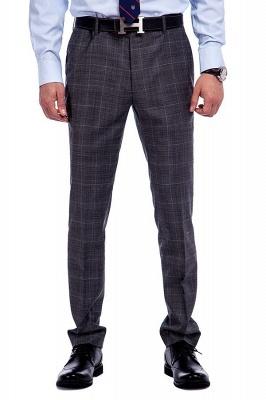 Traje a cuadros de primera calidad a medida en gris para hombres | Pocket solo traje de boda de pecho_7