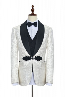White jacquard Chinese knot button custom suit | Shawl Collar 3 Piece Formal quinceanera Chambelanes Tuxedos_1