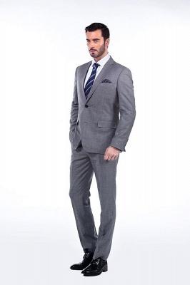 Gris elegante dise_o pico solapa trajes de los hombres | Traje de boda de dos bolsillos a medida_3