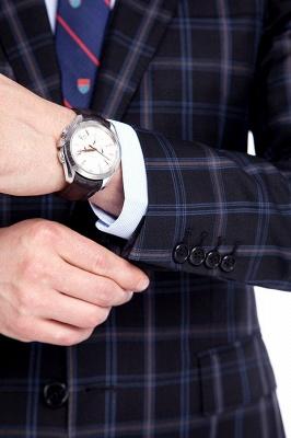 Traje de hombre de lana escocesa azul marino de un solo pecho gris oscuro | Traje de boda de dos botones con dise_o de solapa con muesca_6
