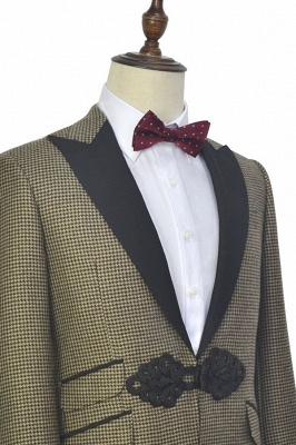 New Arrival Aureate Small Grid Wool Custom Quinceanera Tuxedos | Chinese Knot Peak lapel 3 Pocket Chambelanes Tuxedos_4
