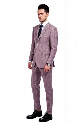 New Tailor Made Light Pink Plaid Chambelanes Tuxedos | 3 Pockets Single Breasted Slim Bespoke Suits_2