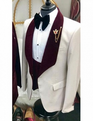 White And Burgundy Wine Maroon Color Velvet Lapel Vested Tuxedo Suit Shawl Collar_1