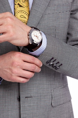 Grey Houndstooth 3 pockets Wool Suits for Men | Customize Peaked Lapel Single Breasted Chambelanes Tuxedos Tuxedos_6