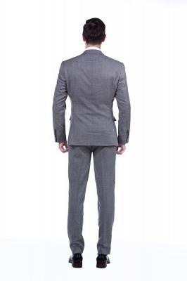 Gris elegante dise_o pico solapa trajes de los hombres | Traje de boda de dos bolsillos a medida_4