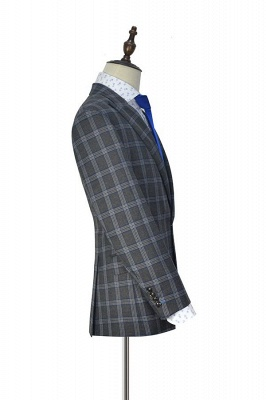 Nueva llegada Traje de tres piezas de solapa gris oscuro | gran enrejado pico para formal de 3 bolsillos traje de boda de un solo pecho para los hombres_4