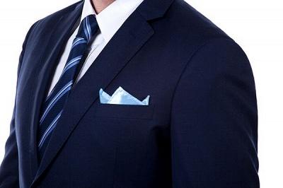 hecho a medida el traje de dos botones de solapa con muesca | Caliente Recomienda Traje de un solo pecho azul marino sólido_5