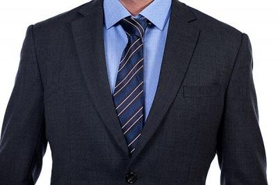 Gris oscuro 2 bolsillos trajes a medida delgados Traje casual de solapa | con muescas Personalizar esmoquin de boda_4