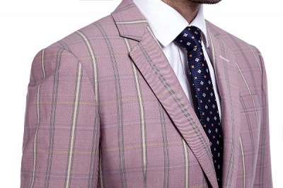New Tailor Made Light Pink Plaid Chambelanes Tuxedos | 3 Pockets Single Breasted Slim Bespoke Suits_5