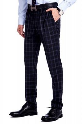 Traje de hombre de lana escocesa azul marino de un solo pecho gris oscuro | Traje de boda de dos botones con dise_o de solapa con muesca_8
