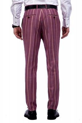 Dark Pink Checks Single Breasted Peaked Lapel Tuxedos | New Suit Formal Suit for Handsome Men_9