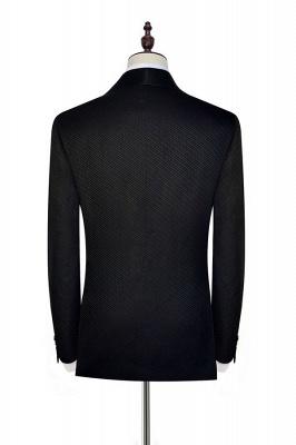 Recién negro traje de chaquetas de jacquard con cuadrados peque_o traje a medida | Traje de Boda _nico con Botones Un Solo Pecho para Novio_6