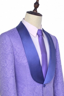 Lavender Jacquard Shawl Collar Customized Party Suits | Latest Design Single Breasted One Button Custom Chambelanes Tuxedos_3