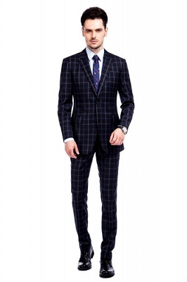 Wool Single Breasted Dark Grey Blue Plaid Chambelanes Tuxedos | Latest Design Notched Lapel Two Button Chambelanes Tuxedos_2