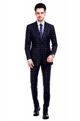 Traje de hombre de lana escocesa azul marino de un solo pecho gris oscuro | Traje de boda de dos botones con dise_o de solapa con muesca_2